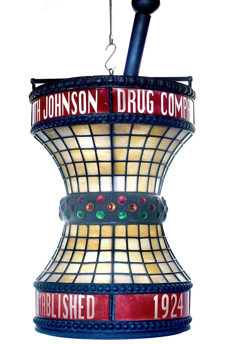 Jeweled Leaded Glass Apothecary Trade Sign In Excellent Condition For Sale In Peekskill, NY