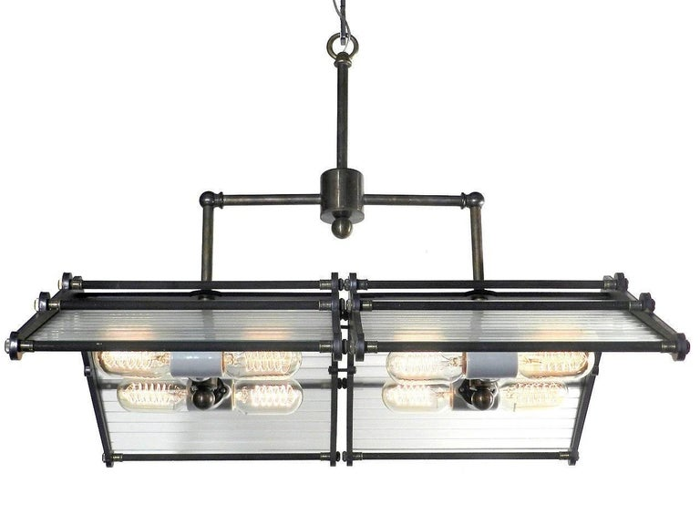 Industrial Large Double Chevron Eight-Light Chandelier For Sale