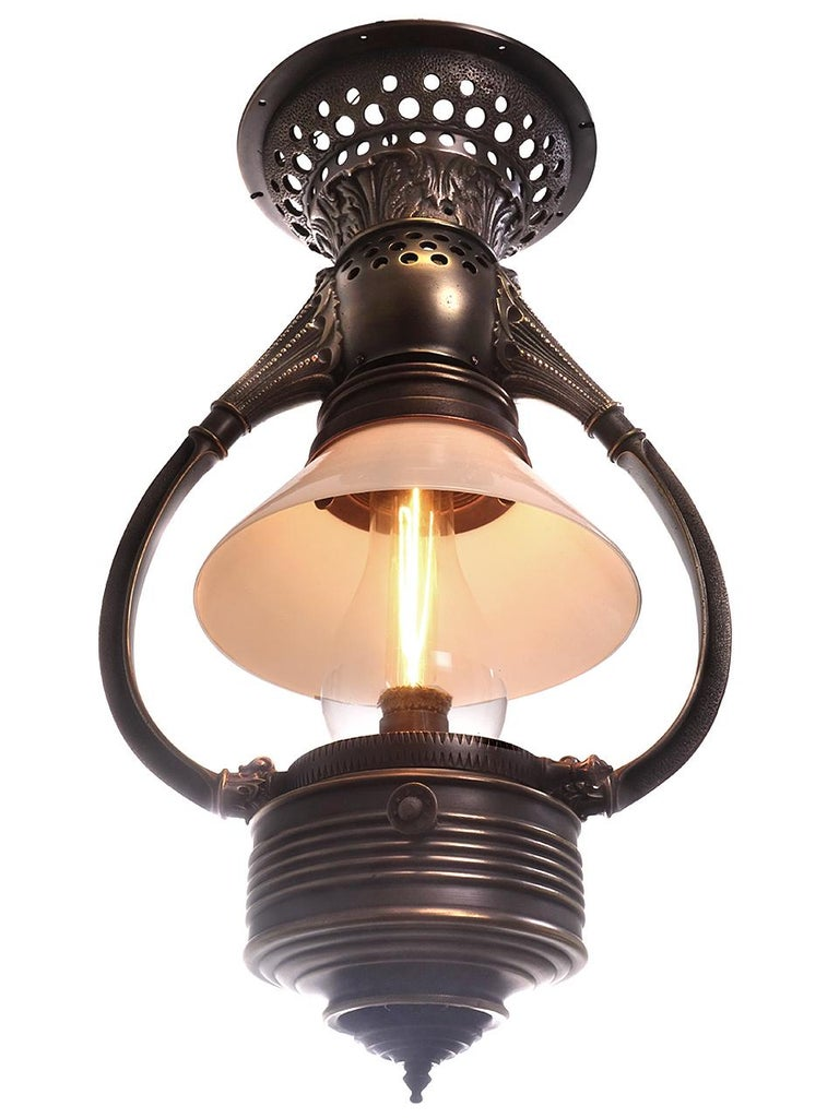 Victorian Adams and Westlake Bow Arm Pullman Car Railroad Lamps, Pair For Sale