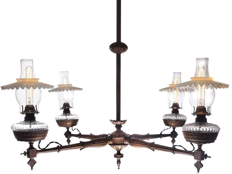 American Antique Four-Arm Victorian Oil Chandelier, Newly Wired For Sale