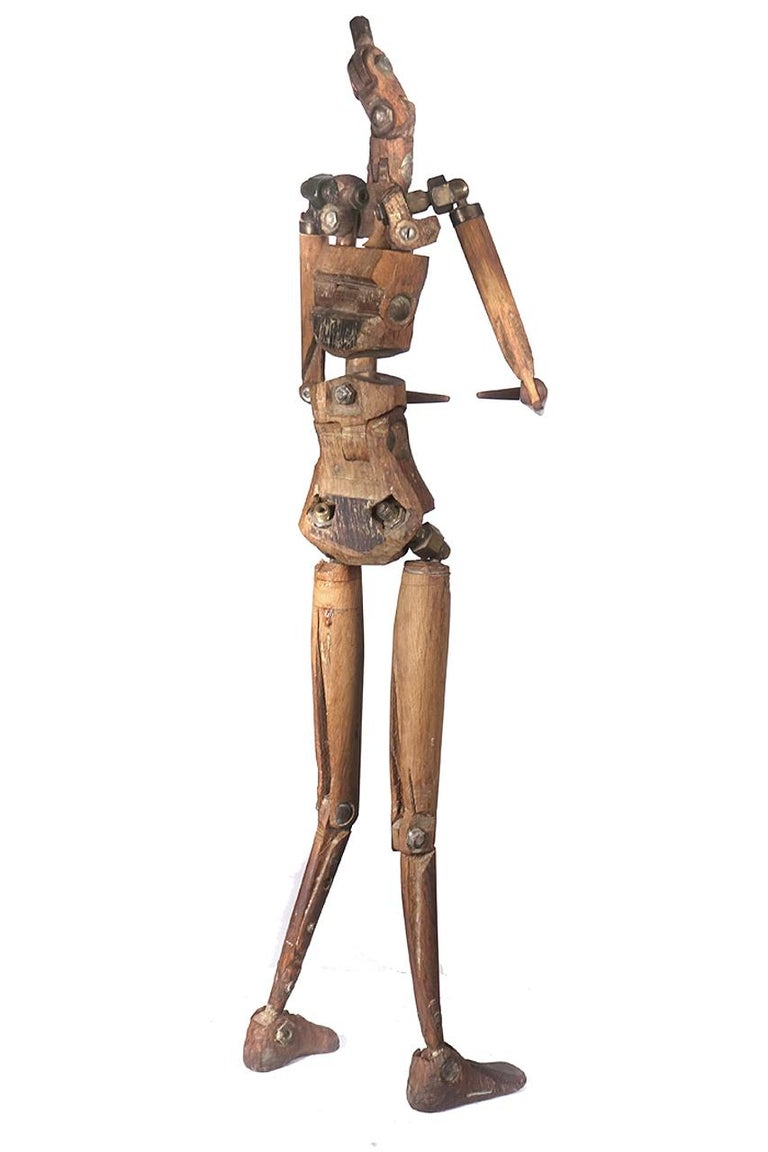 Rustic Articulated Artist's Mannequin In Excellent Condition For Sale In Peekskill, NY