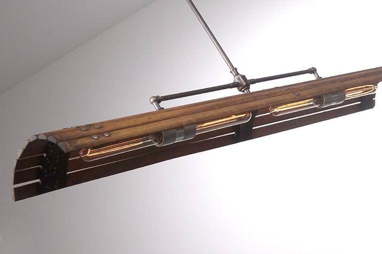 Industrial Rustic Tambour Lamp For Sale