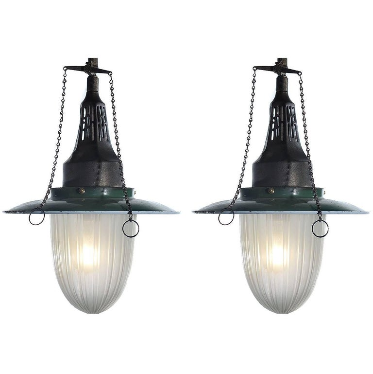 Pair of Fluted Glass Gas Lamps
