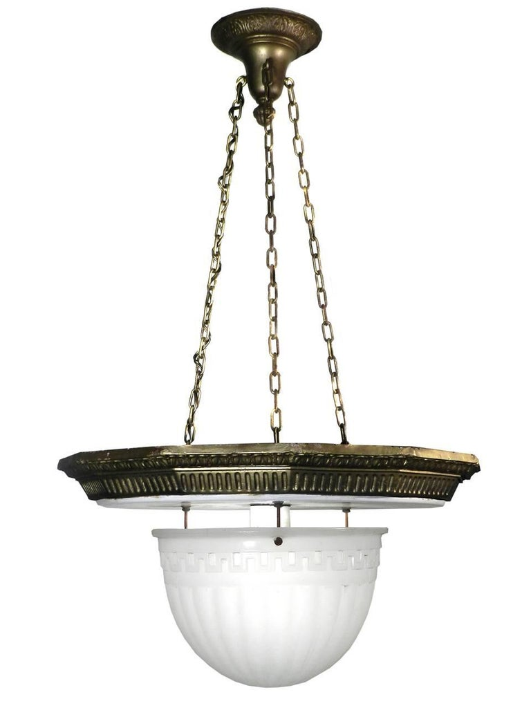 American Classical Large Brascolite Chandelier For Sale