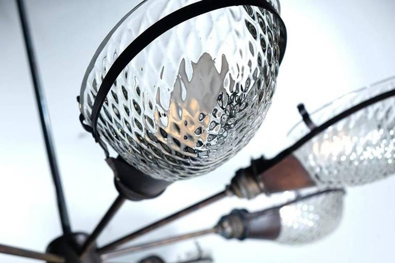 Industrial Early Style Quilted Glass Operating Room Light For Sale