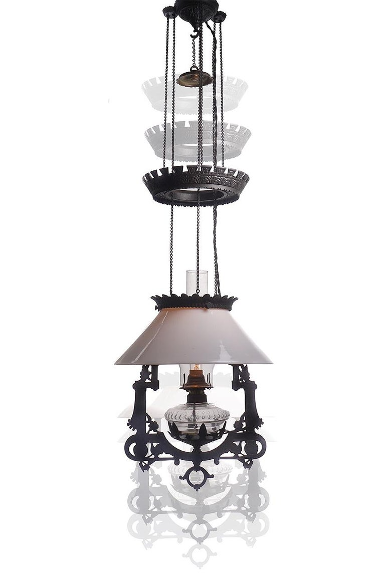 Victorian Electrified 1876 Bradley and Hubbard Rise and Fall Lamp For Sale