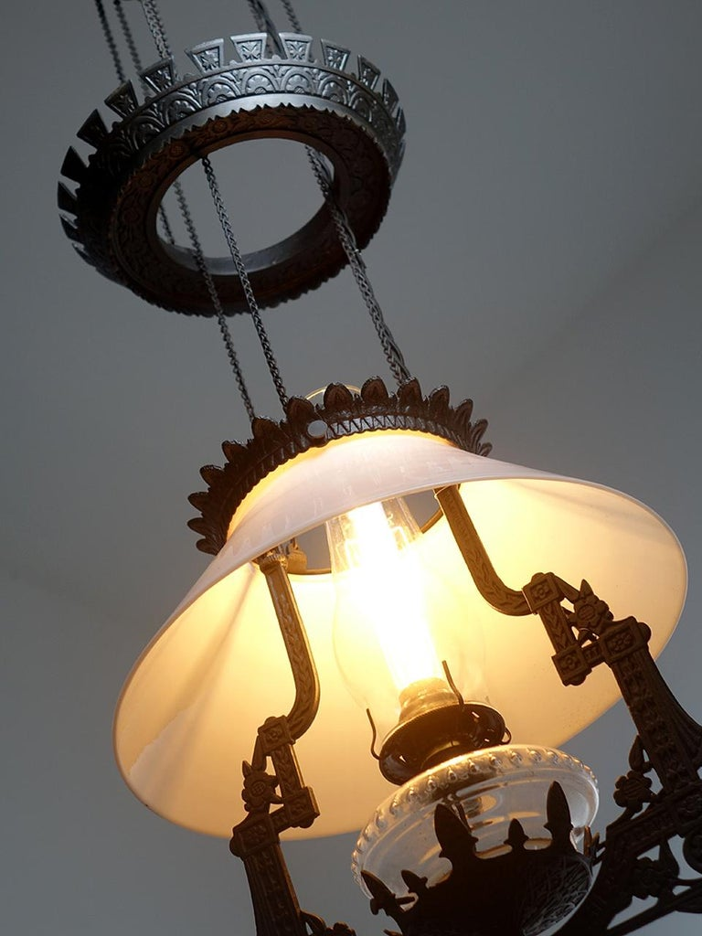 American Electrified 1876 Bradley and Hubbard Rise and Fall Lamp For Sale