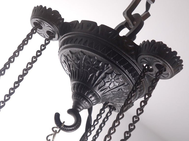 Electrified 1876 Bradley and Hubbard Rise and Fall Lamp In Good Condition For Sale In Peekskill, NY