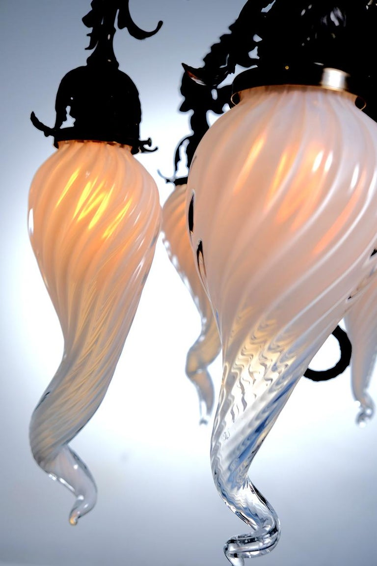 Unknown Unique Hand Blown 6 Shade Floral Chandelier For Sale