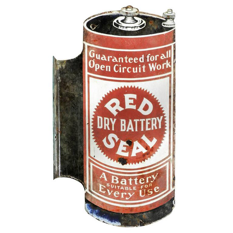 American Early Porcelain Red Seal Battery Sign For Sale