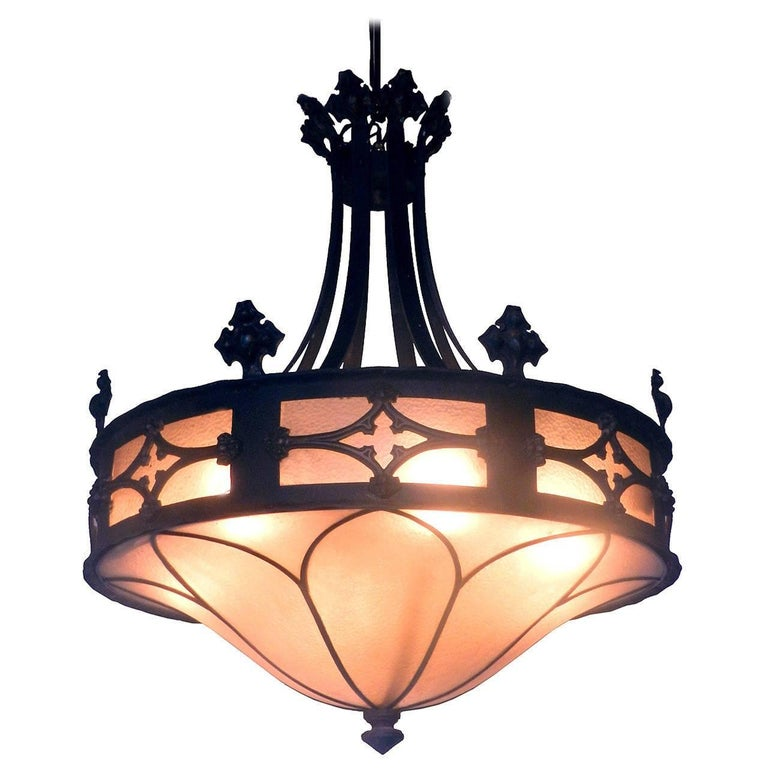 Large Gothic Amber Glass Chandelier 1