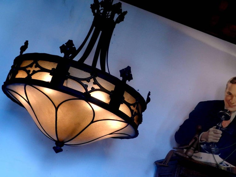 Large Gothic Amber Glass Chandelier 4