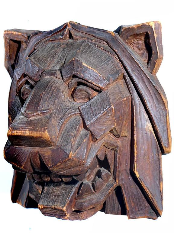 Striking Hand-Carved Art Deco Lions Head 2