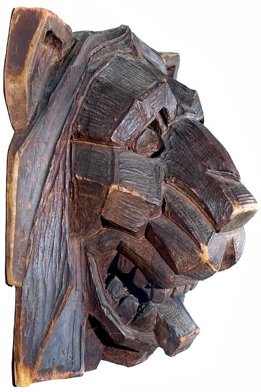 Striking Hand-Carved Art Deco Lions Head 3