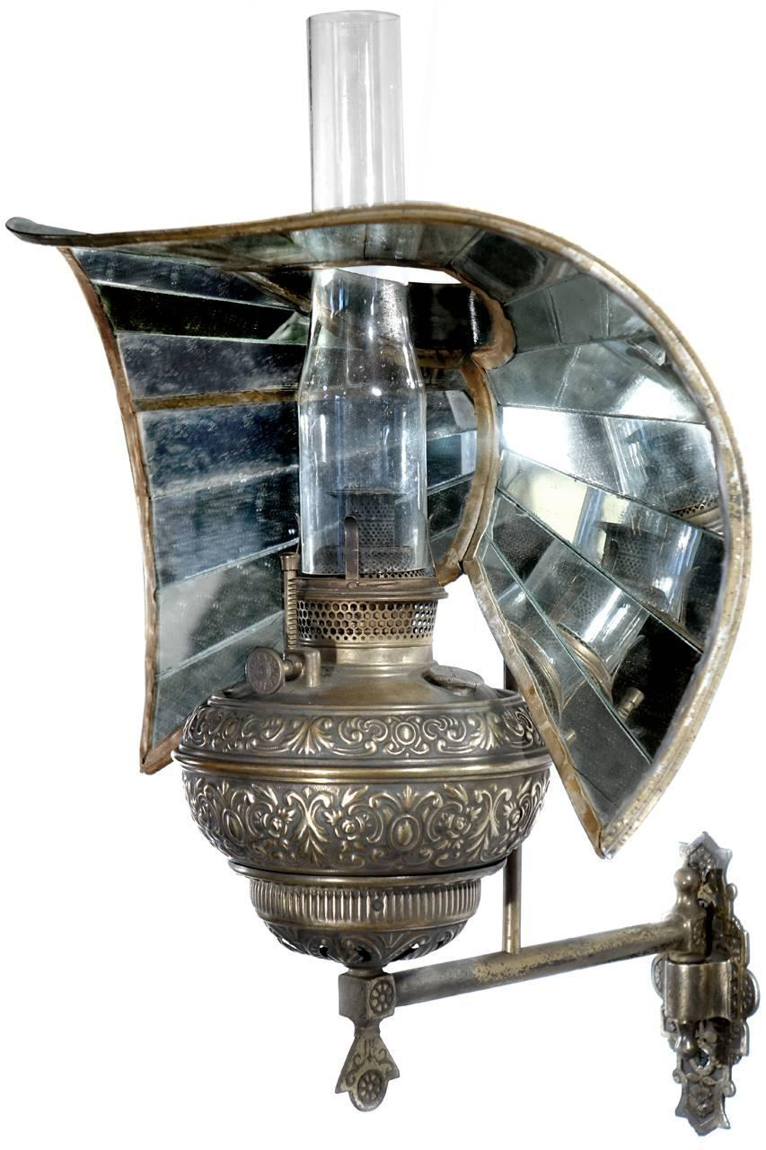 Wheeler Fish Tail Mirrored Reflector, Pullman Car Sconce at 1stdibs