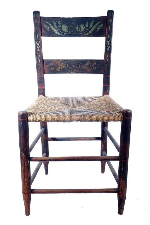 Set Of Six Hand Painted Rush Chairs For Sale At 1stdibs
