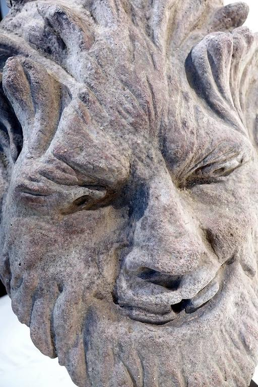 Gothic Early Limestone Fountain Head For Sale