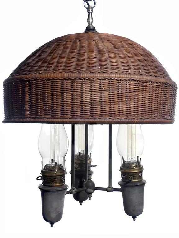 Large arts and crafts wicker shade chandelier for sale at for Arts and crafts chandelier