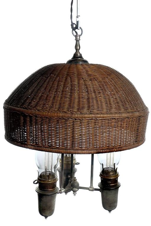 Large Arts And Crafts Wicker Shade Chandelier At 1stdibs