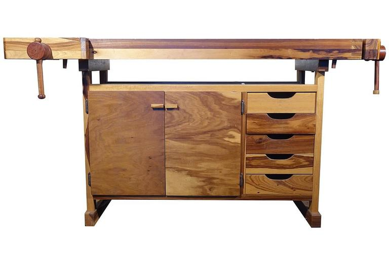 Beautiful Contrasting Wood Carpenters Work Bench 3