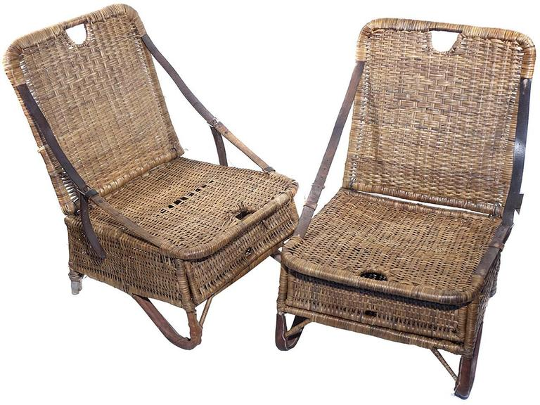 Pair of Folding Wicker Canoe Chairs 2