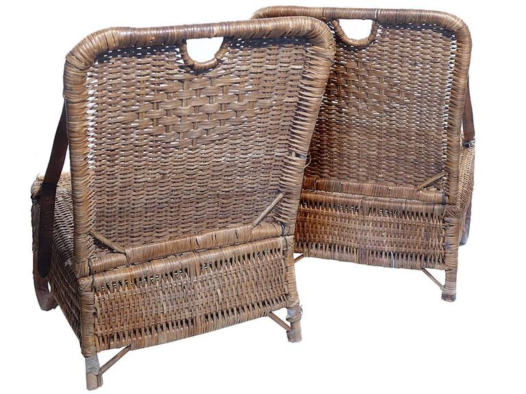 Pair of Folding Wicker Canoe Chairs 3