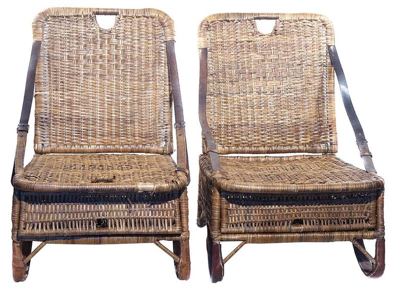 Pair of Folding Wicker Canoe Chairs 4