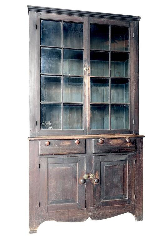 19th Century Mid-1800s Glazed Two-Tier Cupboard in Original Paint For Sale