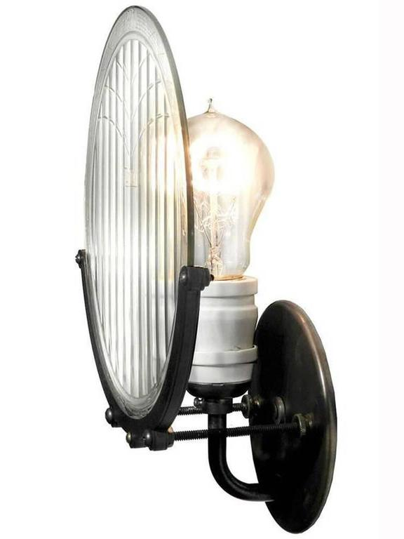 1915 Automobile Headlight Lens Sconce 2