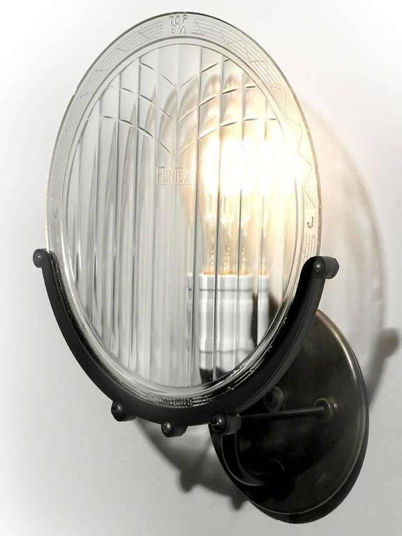 1915 Automobile Headlight Lens Sconce 4