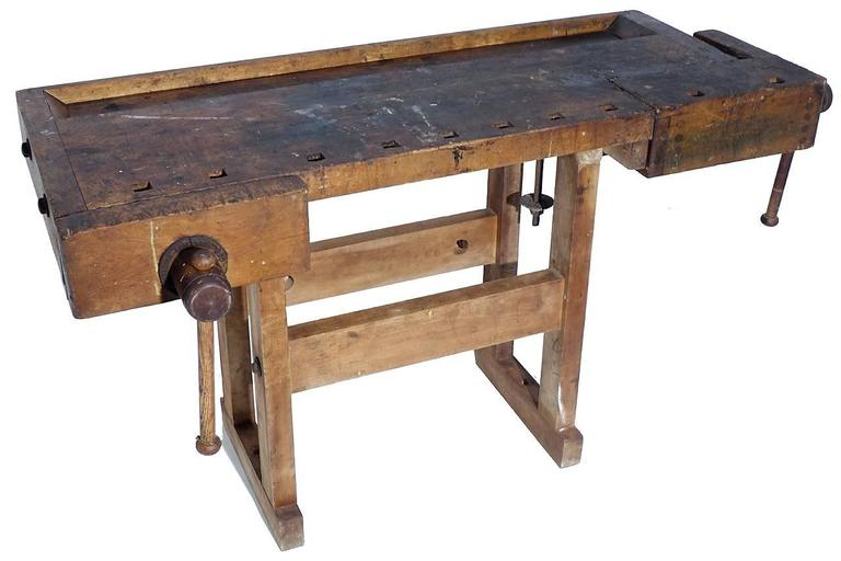 Rustic 1800s Carpenters Workbench For Sale