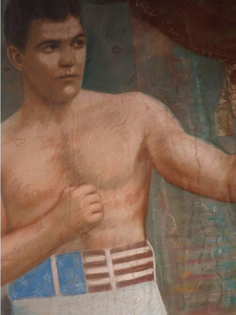 Large 1903 Framed Pastel of Heavyweight Champion 3