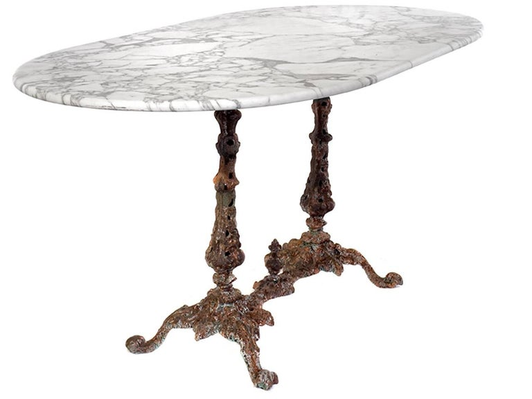 1800s Marble Table with Fiske Cast Iron Base 2