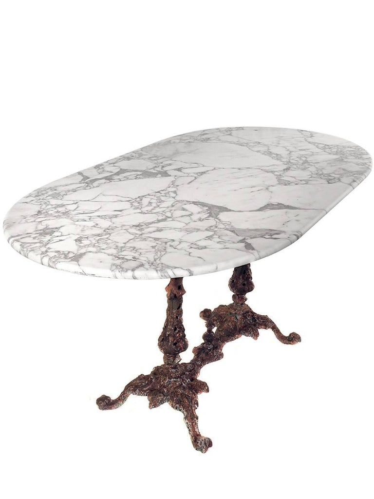 1800s Marble Table with Fiske Cast Iron Base 4