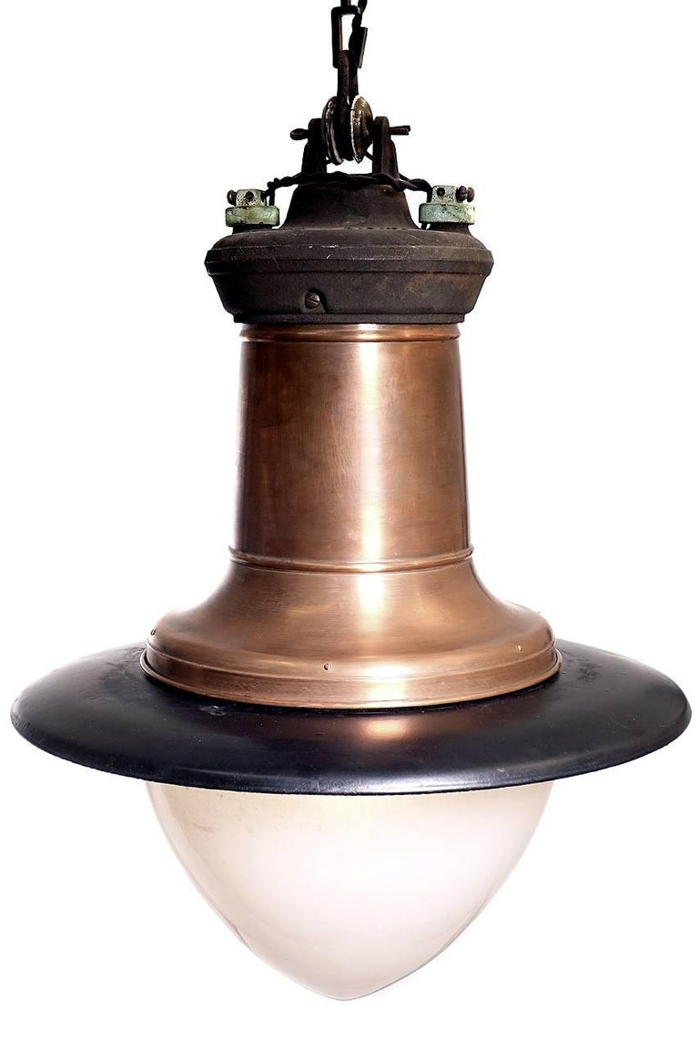 Industrial Impressive Copper, Porcelain and Milk Glass Street Lamp For Sale