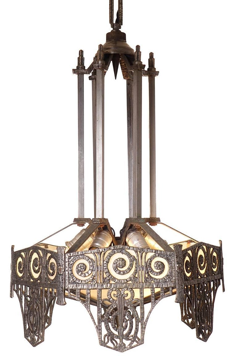 Pair of Highly Detailed French Art Deco Chandelier 5