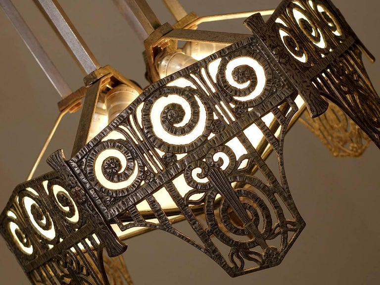 Pair of Highly Detailed French Art Deco Chandelier 3