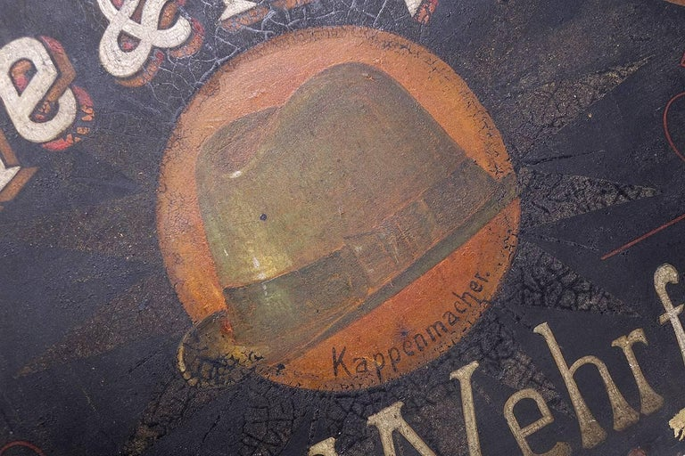 Early German Hand-Painted Hat Maker Sign 2