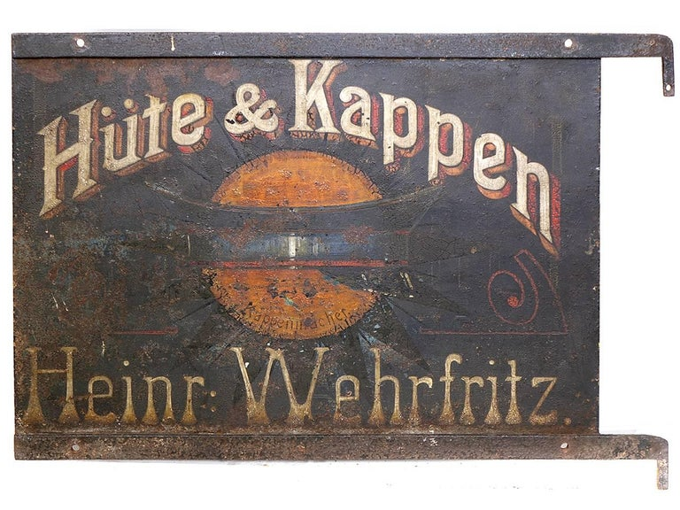 Early German Hand-Painted Hat Maker Sign 3
