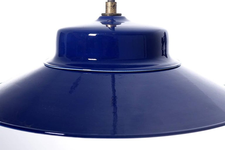 Desirable Cobalt Blue Three-Bulb Benjamin Pendents In Excellent Condition For Sale In Peekskill, NY