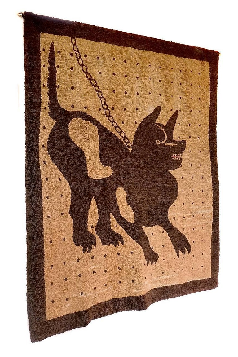 Bad Dog Folk Art Hooked Rug 3