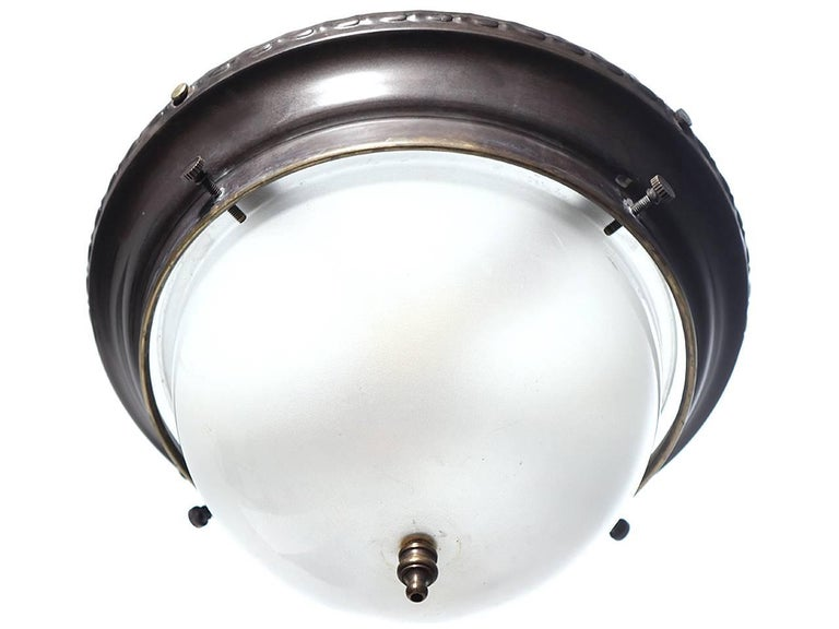American Small Dome Brass and Frosted Glass Flush Mount For Sale