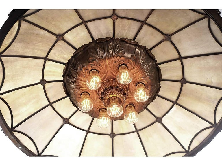 Large Bronze and Leaded Glass Seven Bulb Theatre Chandelier 2