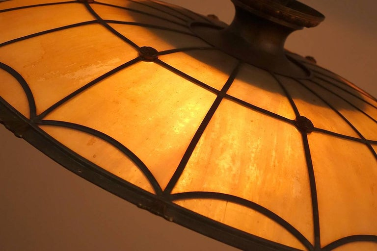 Large Bronze and Leaded Glass Seven Bulb Theatre Chandelier 3