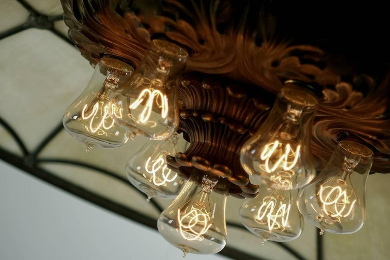 Large Bronze and Leaded Glass Seven Bulb Theatre Chandelier 4