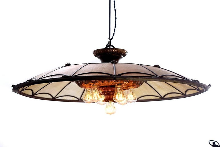 Large Bronze and Leaded Glass Seven Bulb Theatre Chandelier 5