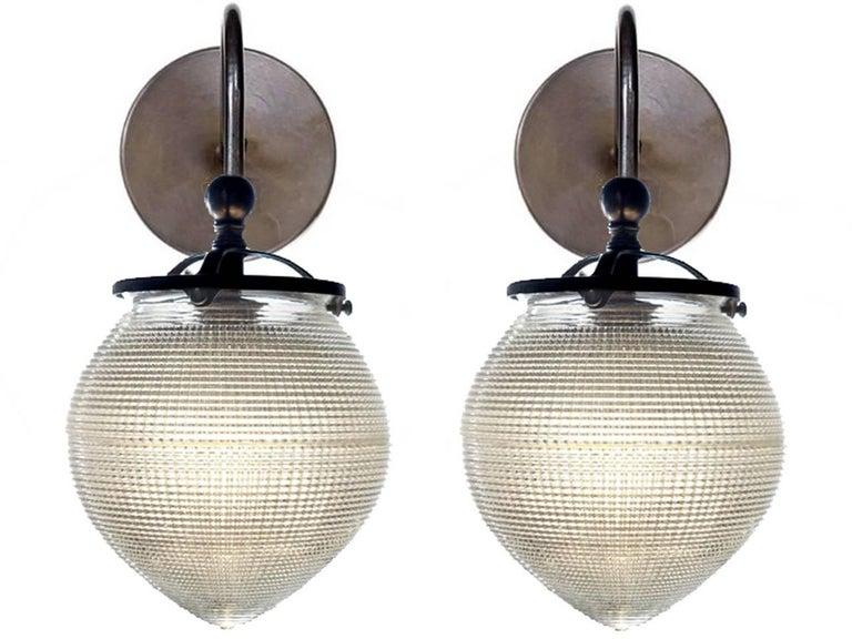 Industrial 1920s Acorn Prismatic Sconces For Sale