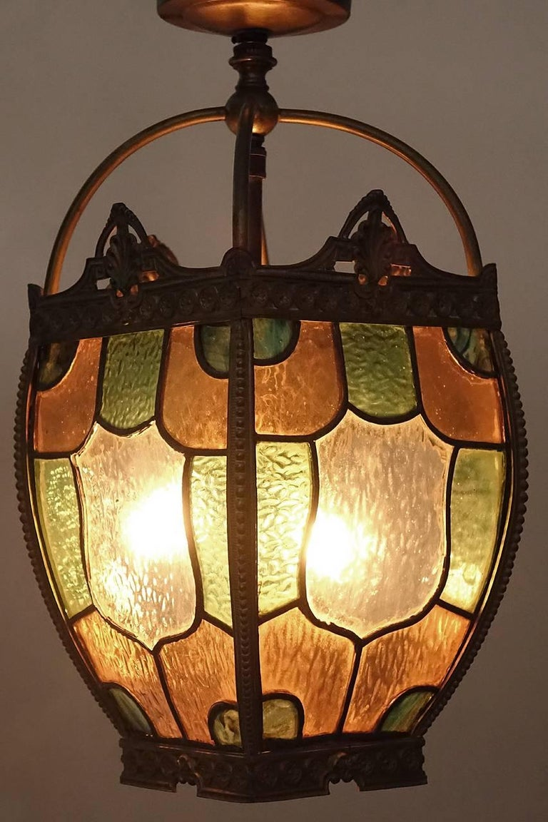 American Tudor Style Stained Glass Hall Light For Sale