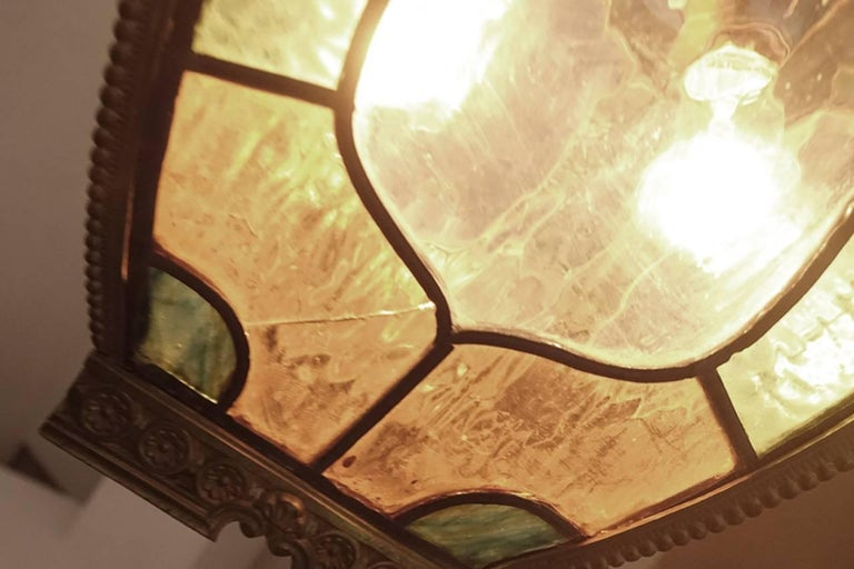 20th Century Tudor Style Stained Glass Hall Light For Sale