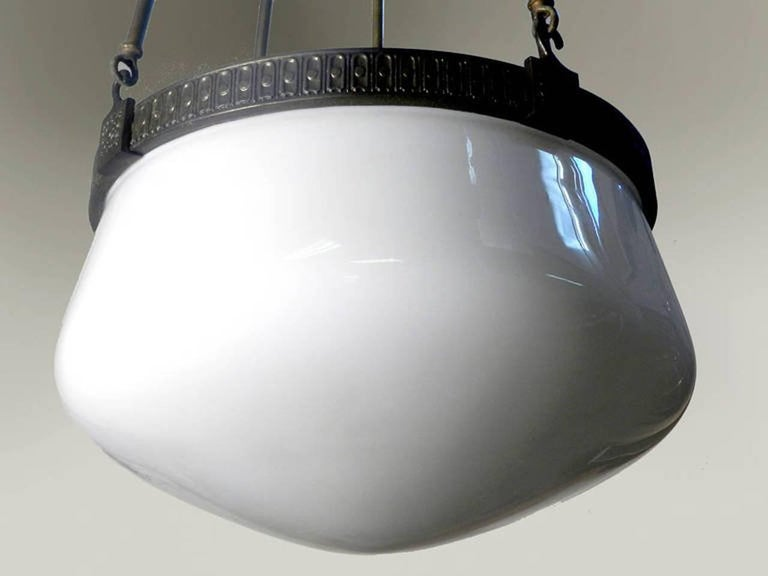 American Empire Impressive Domed Milk Glass Chandelier For Sale